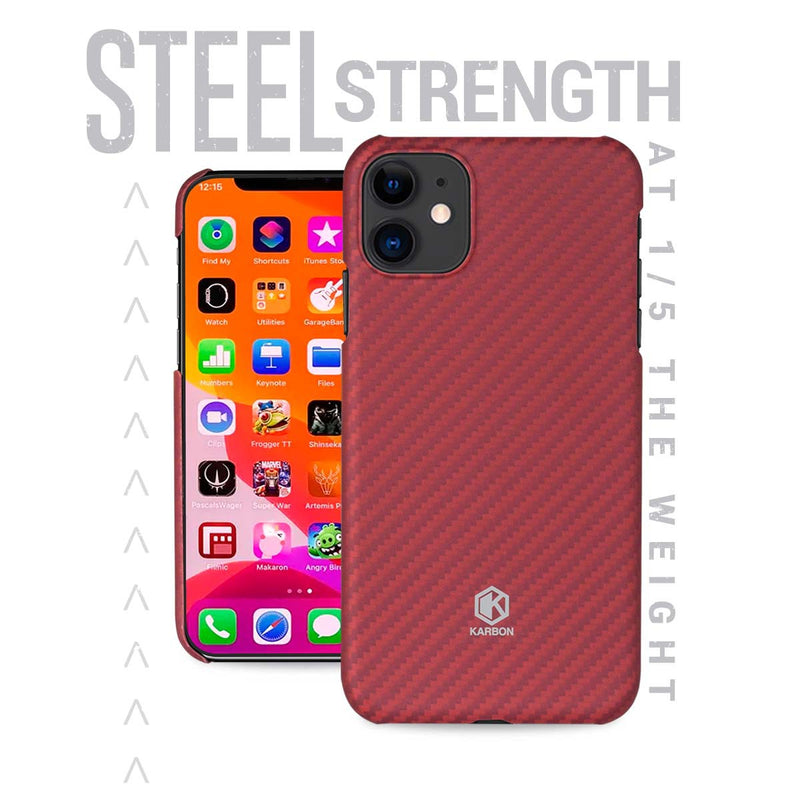 Karbon Value iPhone 11 6.1 inch, Thin 0.7mm Slim Light Smooth Real Aramid Fiber Protective Phone Case scratch resistant Durable  Cover-Red