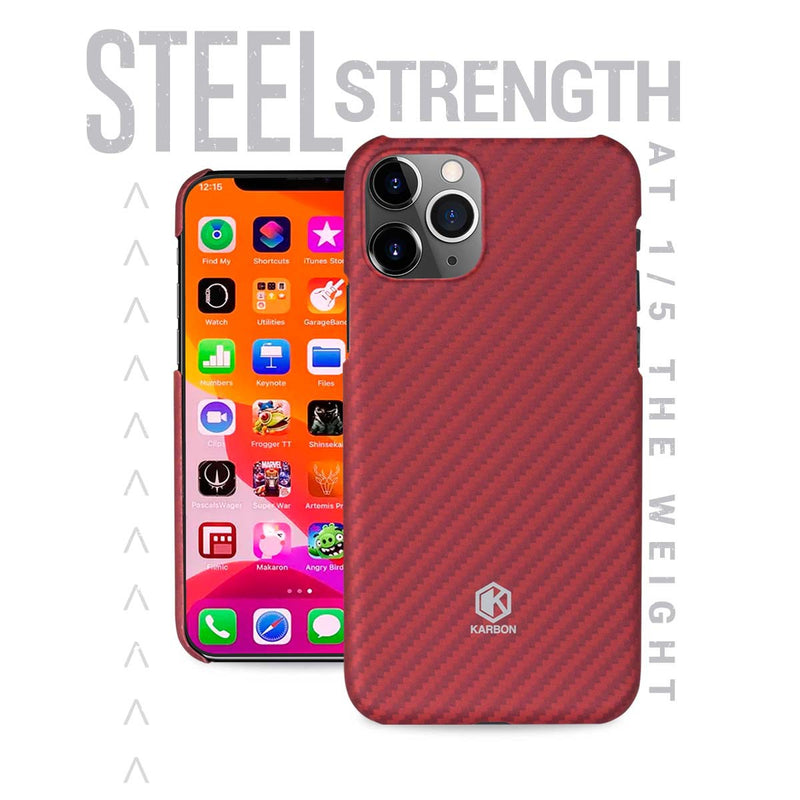 Karbon Value iPhone 11 Pro Max 6.5 inch, Thin 0.7mm Slim Light Smooth Real Aramid Fiber Protective Phone Case scratch resistant Durable  Cover - Red