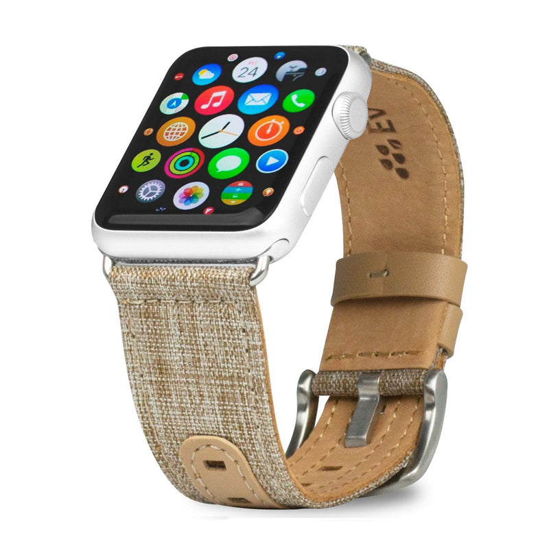 Evutec iWatch 42mm & 44mm Leather Premium Fabric Hand Stitched Watch Band Strap Series 4, Series 3, Series 2, Series1