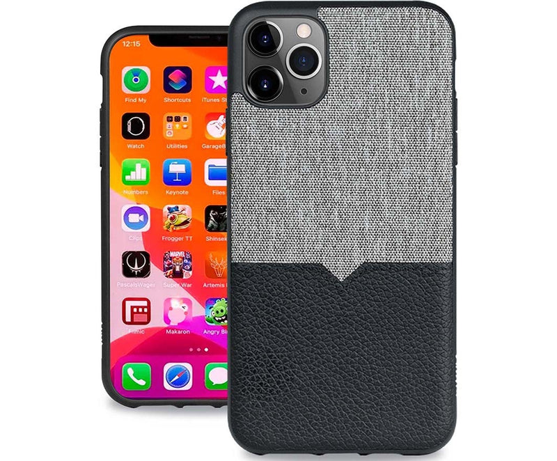 Evutec iPhone 11 Pro Max 6.5 inch Leather Unique Heavy Duty Case Shock Proof Interior Protective Durable Phone Cover-Canvas/Black Vent Mount Included