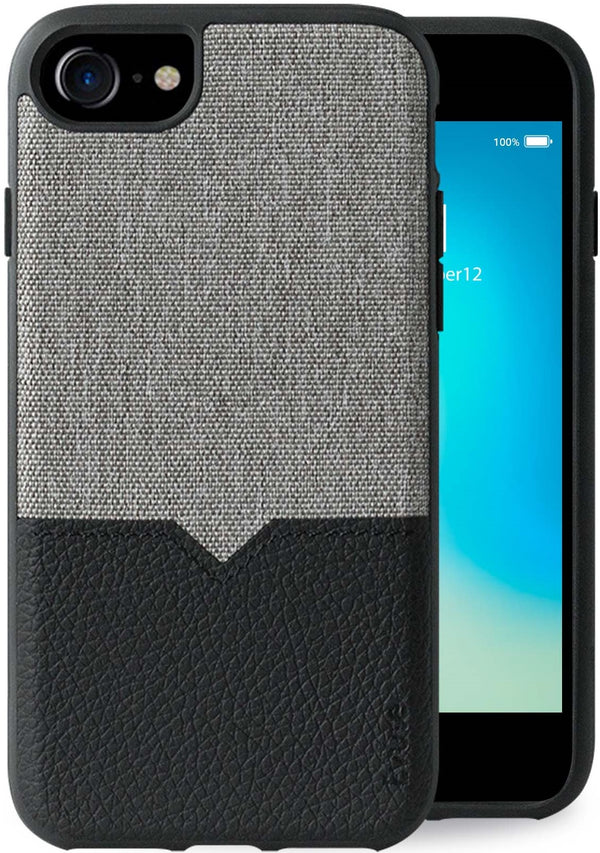 Evutec iPhone 8/7/6s/6 Canvas/Black Premium Leather, Fabric Drop Protection Case with Magnetic Vent Mount