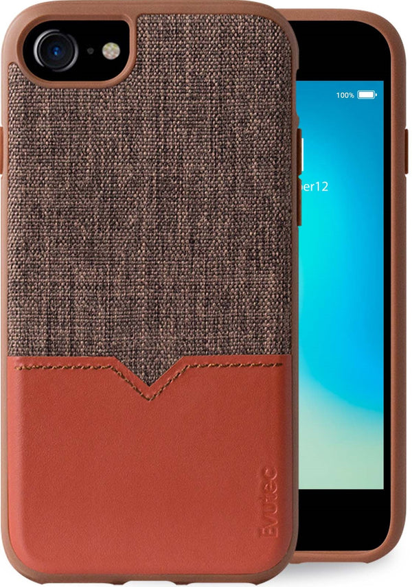 Evutec iPhone 8/7/6s/6 Brigandine/Lava Premium Leather, Fabric Drop Protection Case with Magnetic Vent Mount