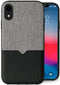 Evutec iPhone Xr Canvas/Black Premium Leather, Fabric Drop Protection Case with Magnetic Vent Mount