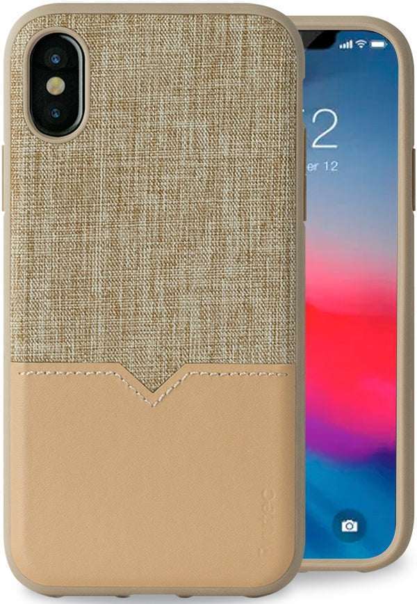 Evutec iPhone X/Xs Tweed/Tan Premium Leather, Fabric Drop Protection Case with Magnetic Vent Mount