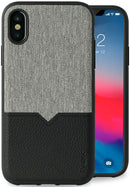 Evutec iPhone X/Xs Canvas/Black Premium Leather, Fabric Drop Protection Case with Magnetic Vent Mount