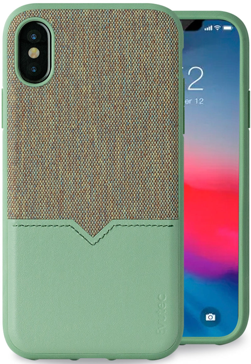 Evutec iPhone X/Xs Chroma/Sage Premium Leather, Fabric Drop Protection Case with Magnetic Vent Mount