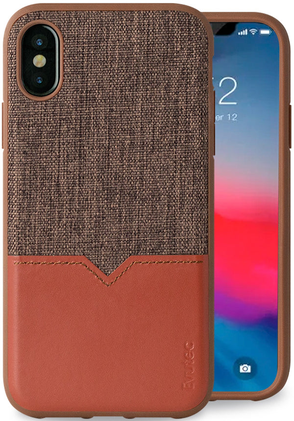 Evutec iPhone X/Xs Brigandine/Lava Premium Leather, Fabric Drop Protection Case with Magnetic Vent Mount