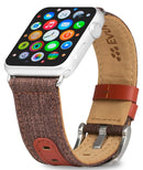 Evutec iWatch 42mm & 44mm Brigandine Lava Genuine Leather Premium Fabric Hand Stitched Watch Band Strap Series 4, Series 3, Series 2, Series1