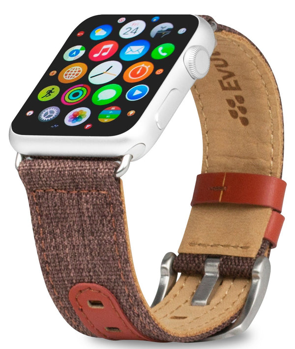 Evutec iWatch 38mm & 40mm Brigandine Lava Genuine Leather Premium Fabric Hand Stitched Watch Band Strap Series 4, Series 3, Series 2, Series1