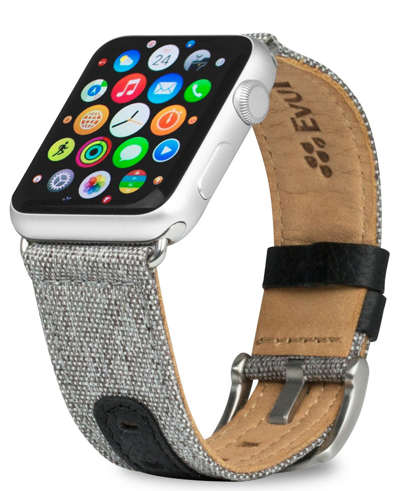 Evutec iWatch 38mm & 40mm Canvas Black Genuine Leather Premium Fabric Hand Stitched Watch Band Strap Series 4, Series 3, Series 2, Series1