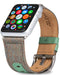 Evutec iWatch 42mm & 44mm Chroma Sage Genuine Leather Premium Fabric Hand Stitched Watch Band Strap Series 4, Series 3, Series 2, Series1