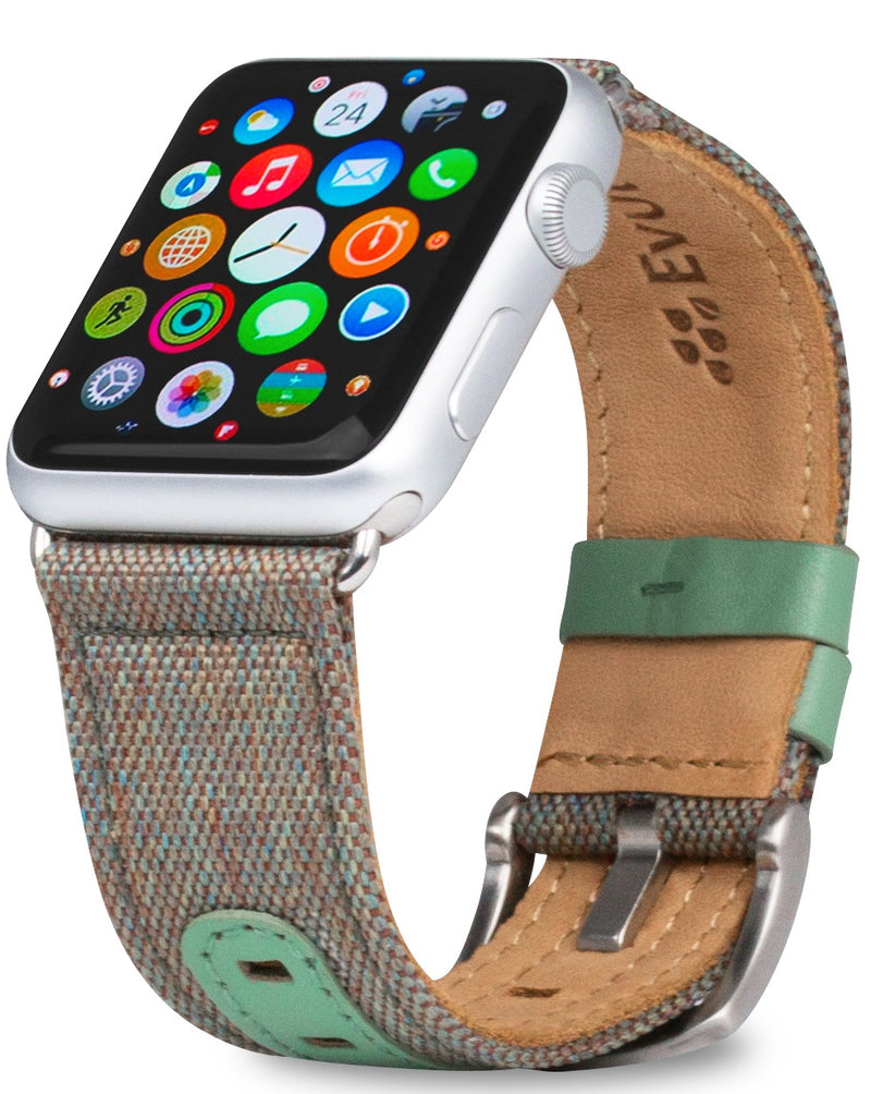 Evutec iWatch 38mm & 40mm Chroma Sage Genuine Leather Premium Fabric Hand Stitched Watch Band Strap Series 4, Series 3, Series 2, Series1