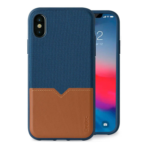 Evutec iPhone X/Xs Premium Leather, Fabric Drop Protection Case with Magnetic Vent Mount
