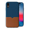 Evutec iPhone Xr Blue/Saddle Premium Leather, Fabric Drop Protection Case with Magnetic Vent Mount