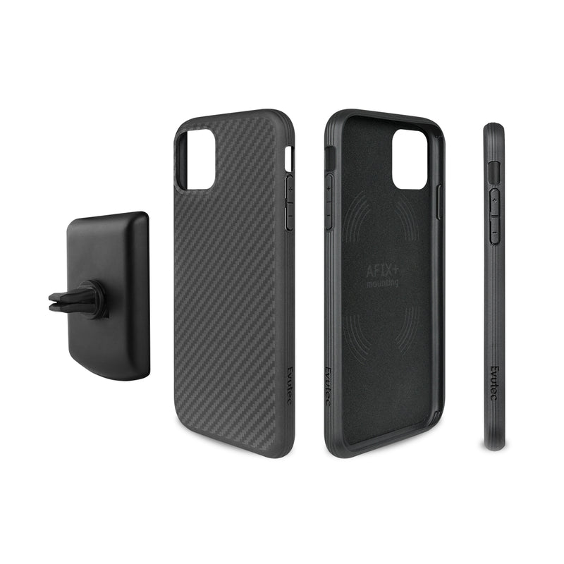 Evutec Karbon iPhone 11 Pro Max Slim Light Smooth Aramid Fiber Protective Phone Case Cover & Vent Mount