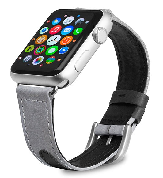 Evutec Reflective Sport Band Compatible with Apple Watch Band 38MM 40MM, Silicone Vegan Leather Replacement Sport Strap Women and Men for iWatch Series 5/4/3/2/1(Starlight/Light-grey)