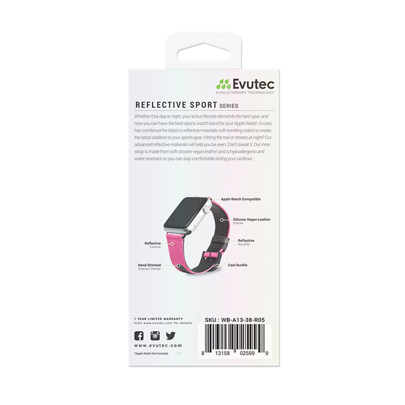 Evutec Reflective Sport Band Compatible with Apple Watch Band 38MM 40MM, Silicone Vegan Leather Replacement Sport Strap Women and Men for iWatch Series 5/4/3/2/1 (Pink/Black)