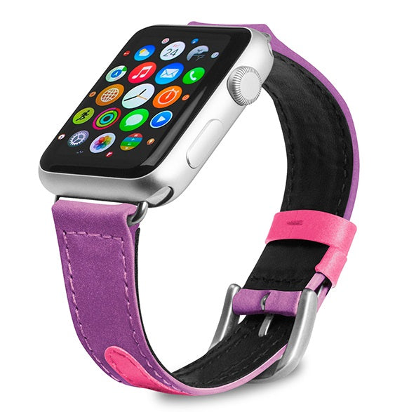 Evutec Reflective Sport Band Compatible with Apple Watch Band 38MM 40MM, Silicone Vegan Leather Replacement Sport Strap Women and Men for iWatch Series 5/4/3/2/1 (Unicorn/Purple)