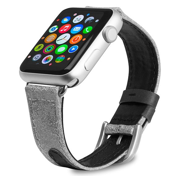 Evutec Reflective Sport Band Compatible with Apple Watch Band 38MM 40MM, Silicone Vegan Leather Replacement Sport Strap Women and Men for iWatch Series 5/4/3/2/1(Diamond/Silver)