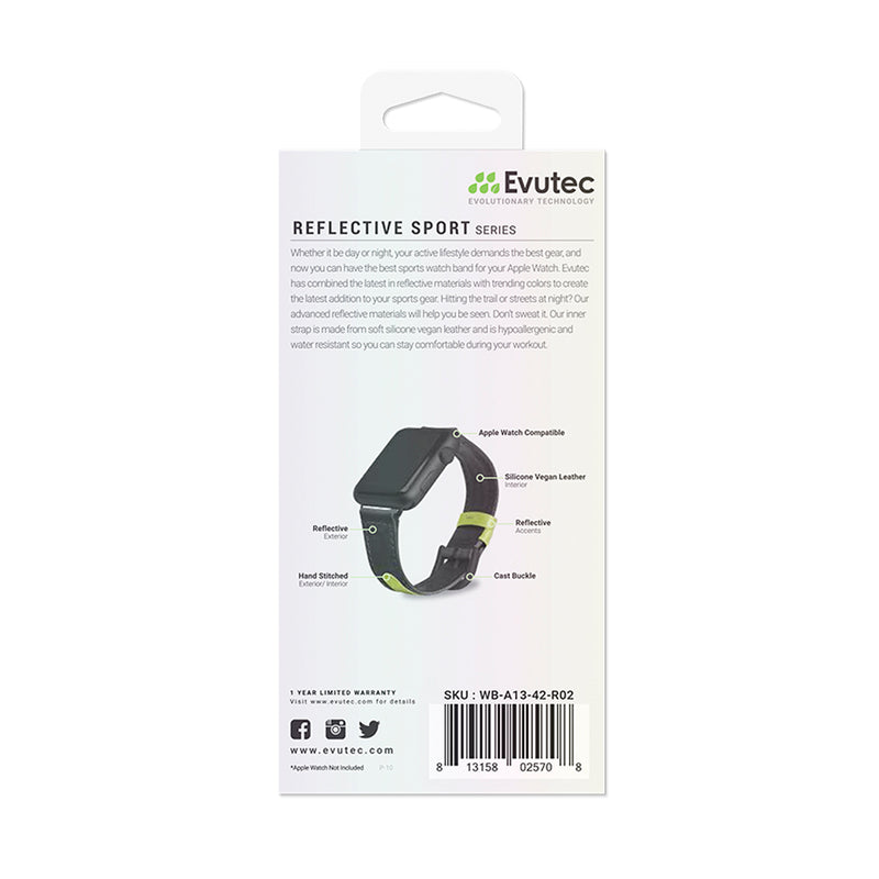 Evutec Reflective Sport Band Compatible with Apple Watch Band 42MM 44MM, Silicone Vegan Leather Replacement Sport Strap Women and Men for iWatch Series 5/4/3/2/1(Black/Lime)