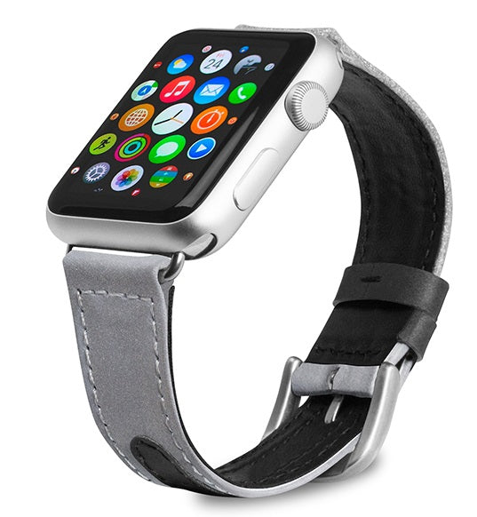 Evutec Reflective Sport Band Compatible with Apple Watch Band 42MM 44MM, Silicone Vegan Leather Replacement Sport Strap Women and Men for iWatch Series 5/4/3/2/1(Starlight/Light-grey)