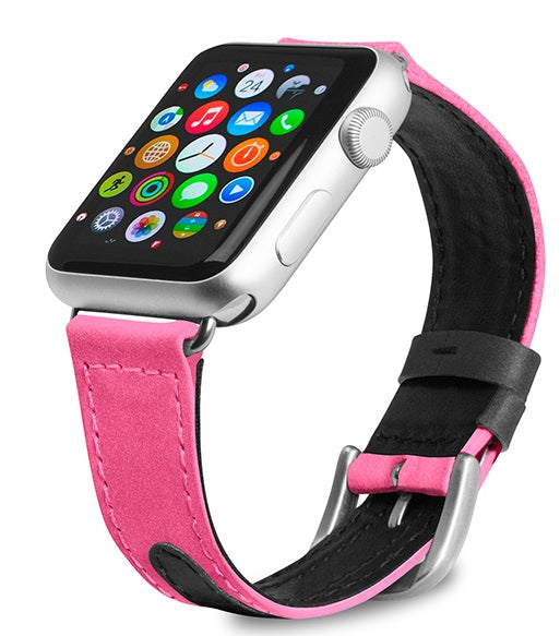 Evutec Reflective Sport Band Compatible with Apple Watch Band 42MM 44MM, Silicone Vegan Leather Replacement Sport Strap Women and Men for iWatch Series 5/4/3/2/1 (Pink/Black)