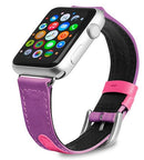 Evutec Reflective Sport Band Compatible with Apple Watch Band 42MM 44MM, Silicone Vegan Leather Replacement Sport Strap Women and Men for iWatch Series 5/4/3/2/1 (Unicorn/Purple)
