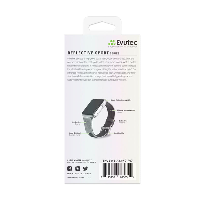 Evutec Reflective Sport Band Compatible with Apple Watch Band 42MM 44MM, Silicone Vegan Leather Replacement Sport Strap Women and Men for iWatch Series 5/4/3/2/1(Diamond/Silver)
