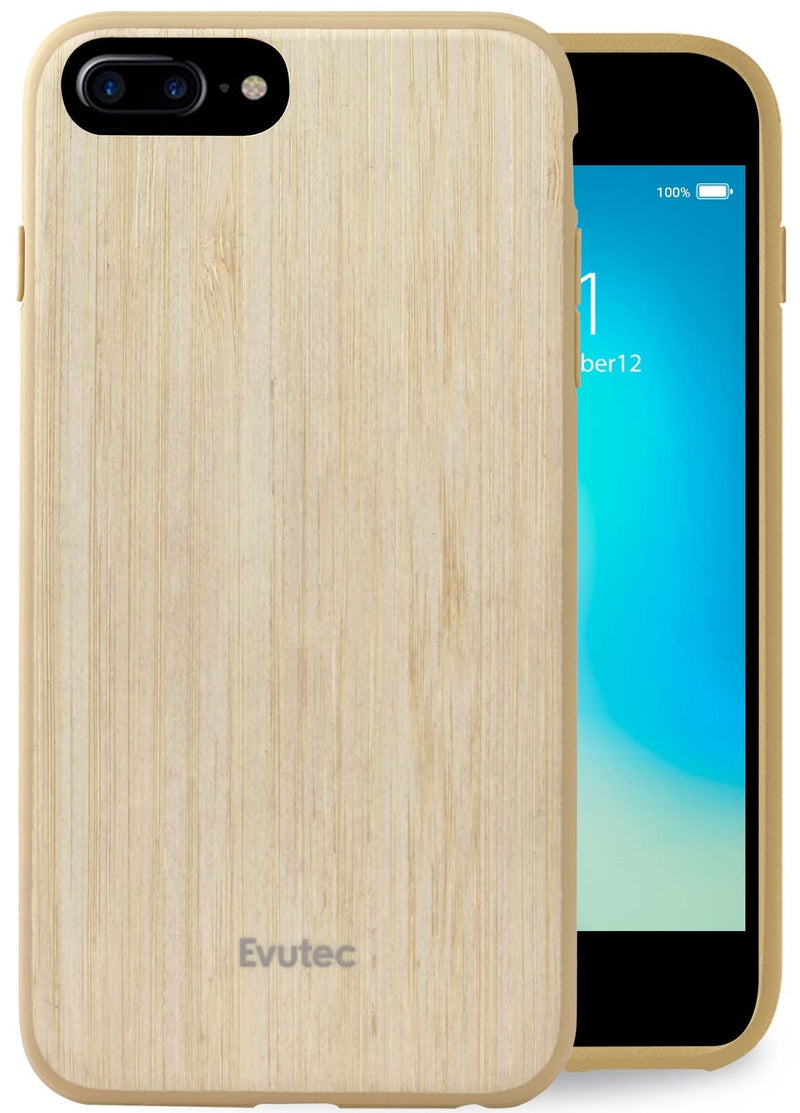 Evutec Case Compatible with iPhone 6 plus/6s plus/7 plus/8 plus, wood thin slim lightweight protective durable case Cover Bamboo Vent Mount Included