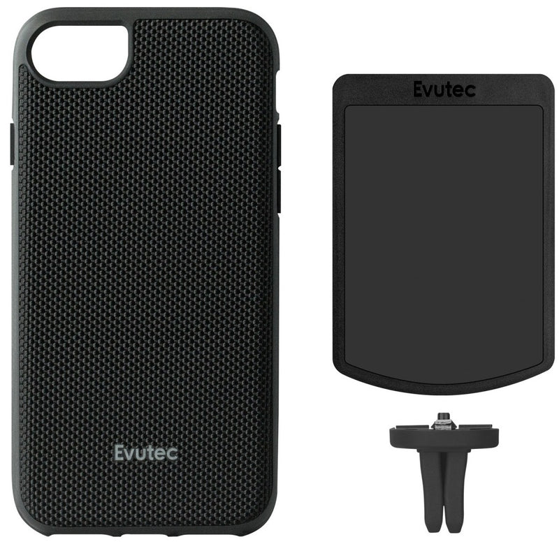 Evutec iPhone 8 Plus/7 Plus/6s Plus/6 Plus Ballistic Nylon Black Honeycomb Interior Drop Protection Case with Magnetic Vent Mount