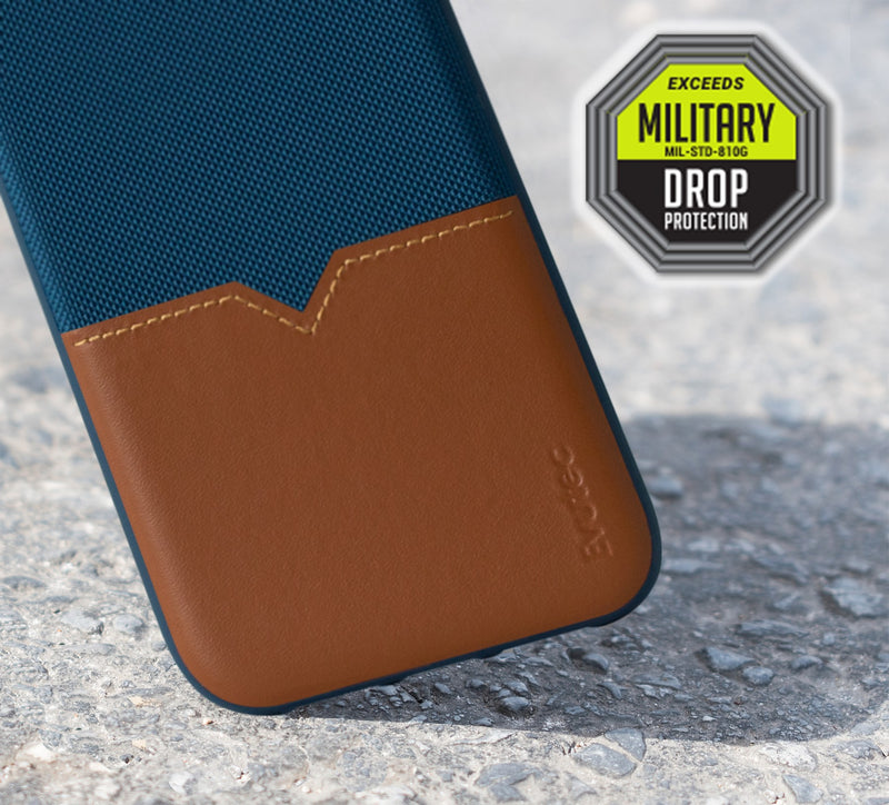 Evutec iPhone X/Xs Blue/Saddle Premium Leather, Fabric Drop Protection Case with Magnetic Vent Mount