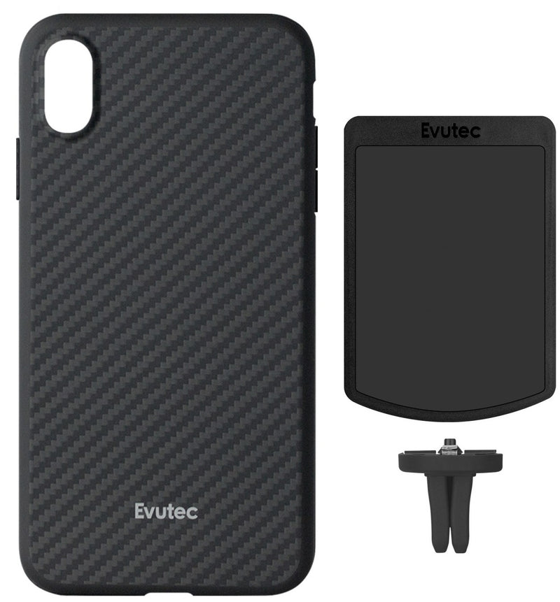 Evutec Karbon iPhone Xs Max Slim Light Smooth Real Aramid Fiber Protective Phone Case scratch resistant Durable Cover & Vent Mount