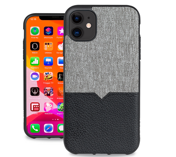 Evutec iPhone 11 6.1 inch, Unique Heavy Duty Case Leather Shock Proof Interior Protective Durable Phone Cover-Canvas/Black  Vent Mount Included
