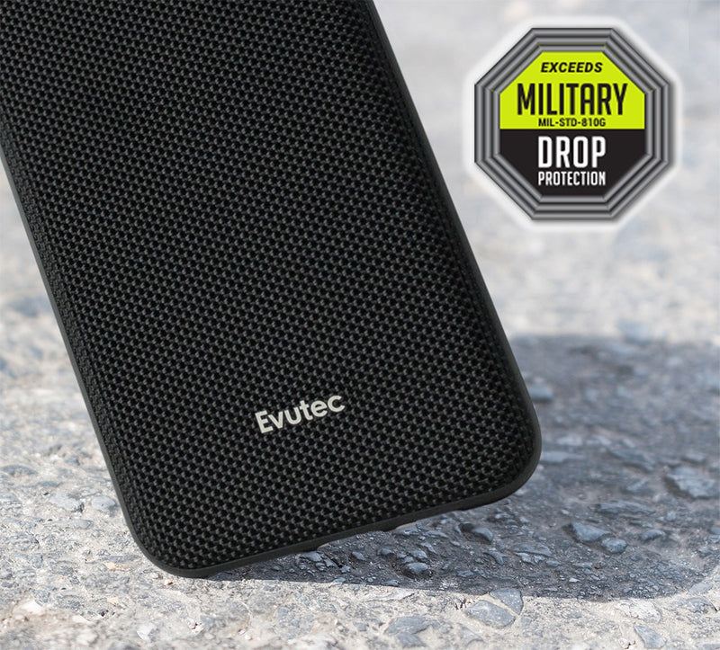Evutec iPhone Xr Ballistic Nylon Black Honeycomb Interior Drop Protection Case with Magnetic Vent Mount