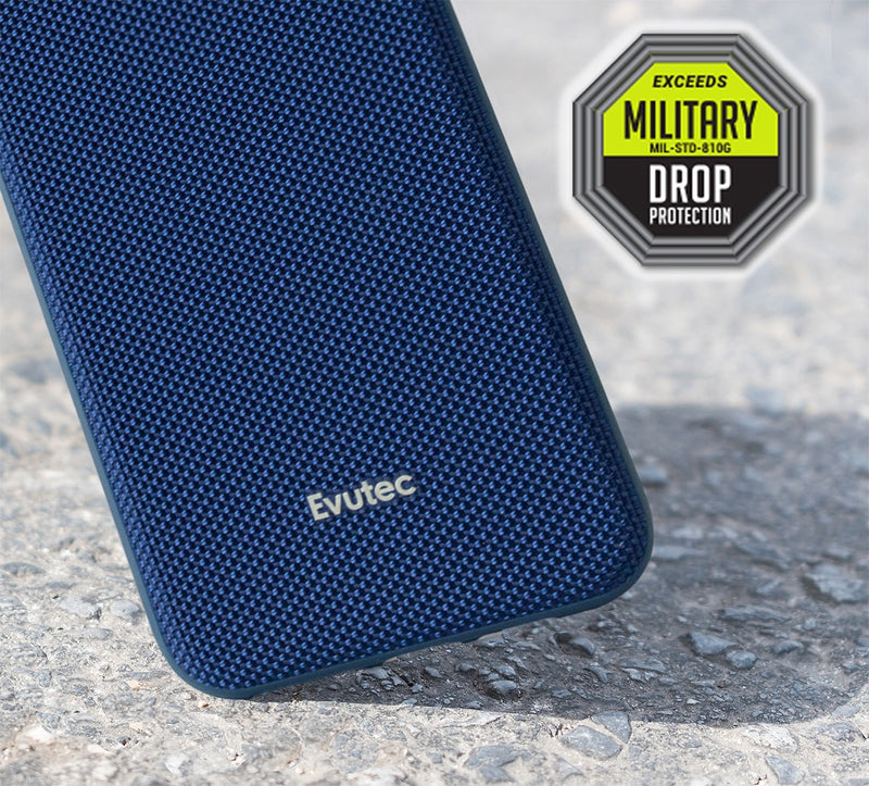Evutec Ballistic Nylon iPhone 11 Pro Max Unique Heavy Duty Premium Protective Military Grade Shockproof Phone Case Cover Magnetic Mount Included Blue