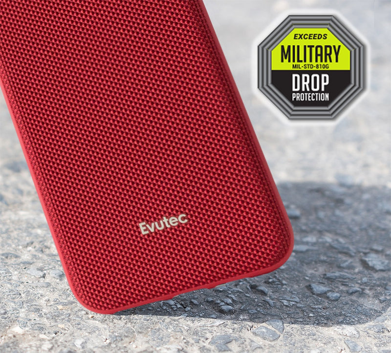 Evutec Ballistic Nylon iPhone 11 Unique Heavy Duty Premium Protective Military Grade Shockproof Phone Case Cover Magnetic Mount Included Red