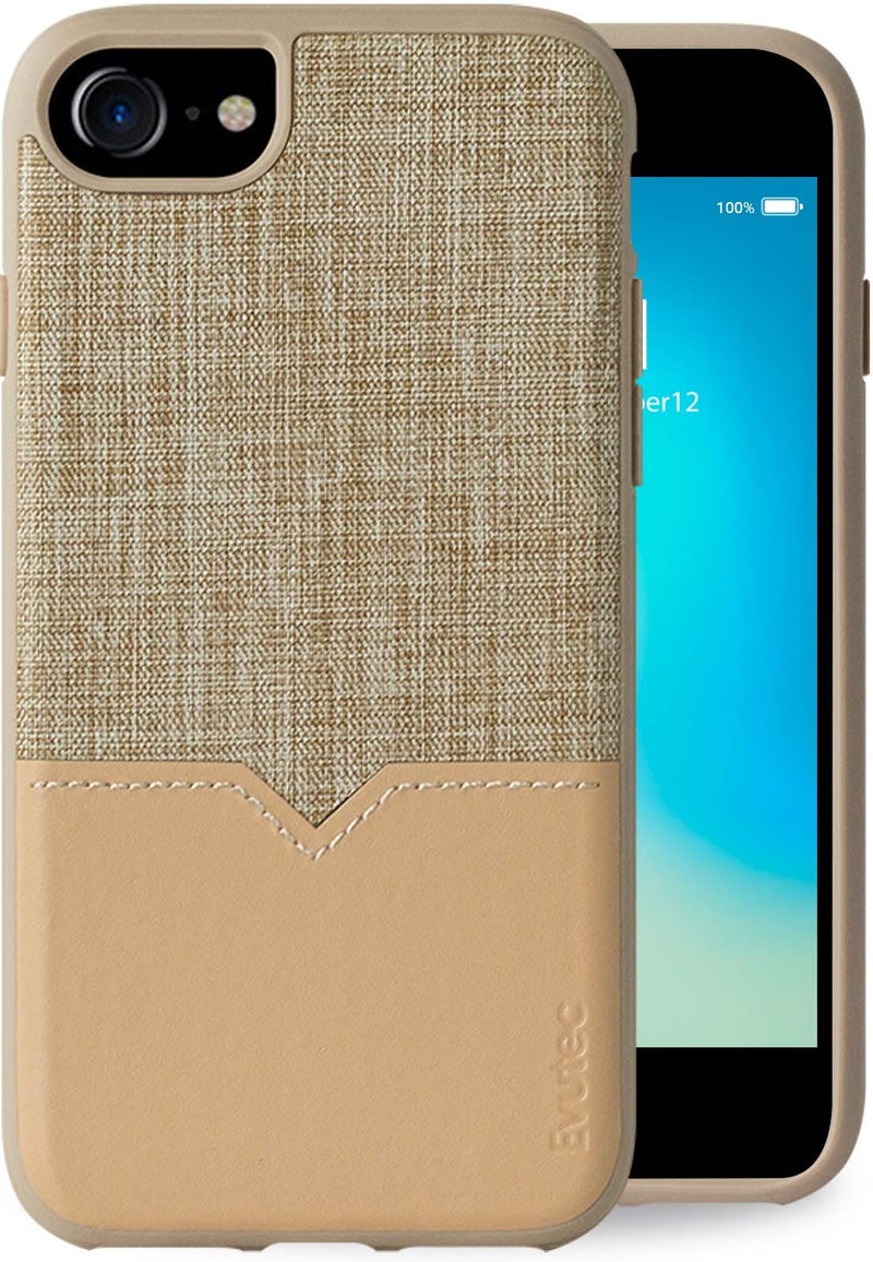 Evutec iPhone 8/7/6s/6 Tweed/Tan Premium Leather, Fabric Drop Protection Case with Magnetic Vent Mount