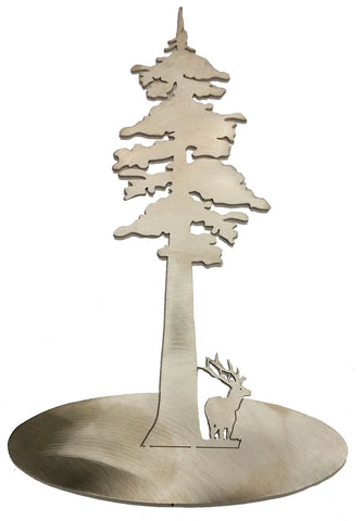 "Redwood Tree with Elk Stainless Steel Stand-Up 11"" Tall - Metal Art"