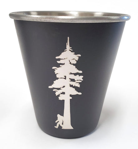 Sasquatch with Redwood Tree - Stainless Steel Shot Glass