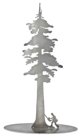 "Redwood Tree with Logger Stainless Steel Stand-Up 11"" Tall - Metal Art"