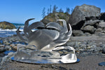"Dungeness Crab Stainless Steel Stand-Up 5"" Tall - Metal Art"