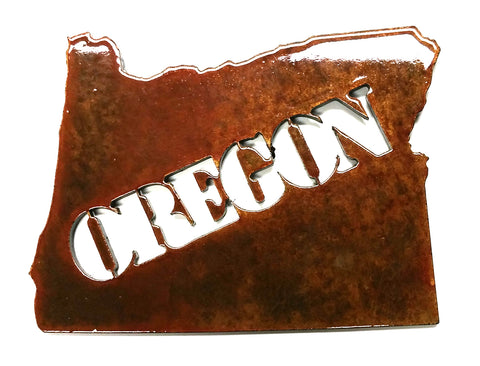 Oregon with Oregon Text - Magnet