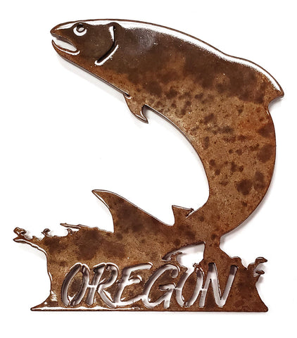 Jumping Salmon with Oregon - Magnet