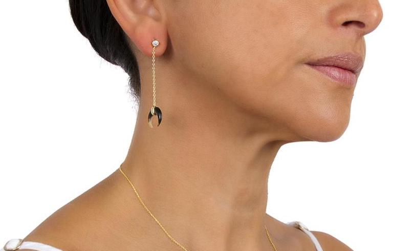 BLACK MOTHER OF PEARL HORN CHAIN DROP EARRINGS