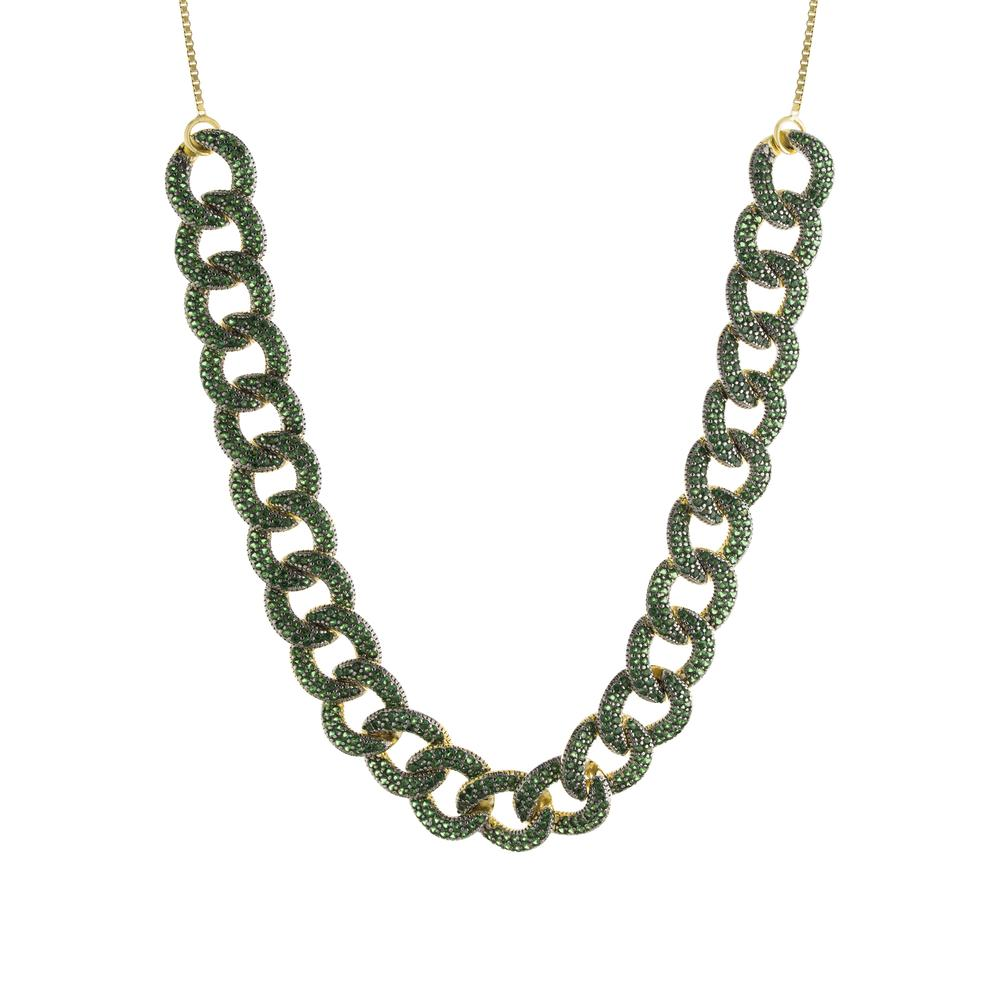GREEN CURB LINK ADJUSTABLE NECKLACE