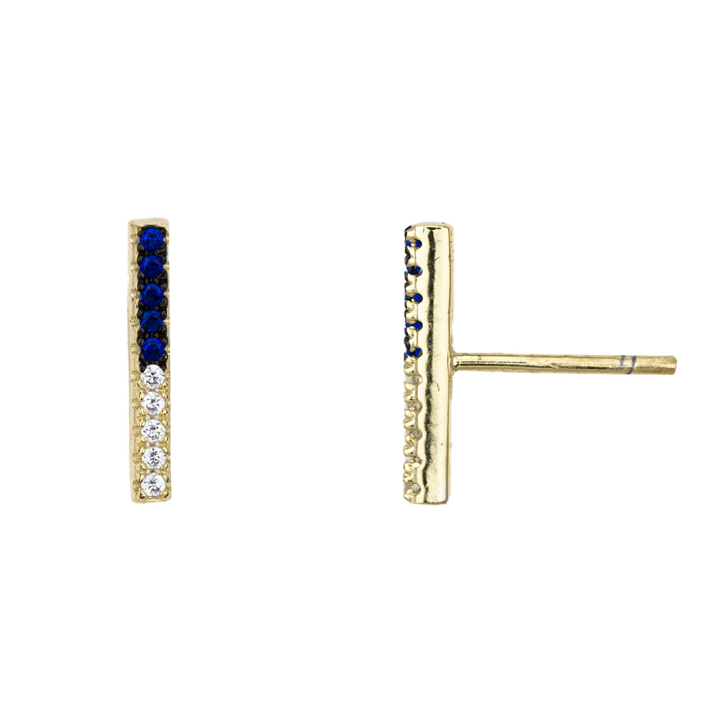 BLUE AND WHITE BAR STUD EARRINGS