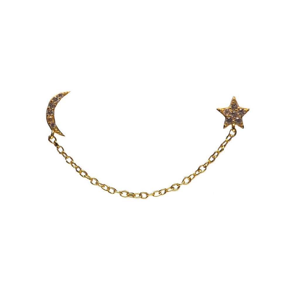 STAR AND MOON DOUBLE STUD CHAIN EARRING (SOLD AS SINGLE)