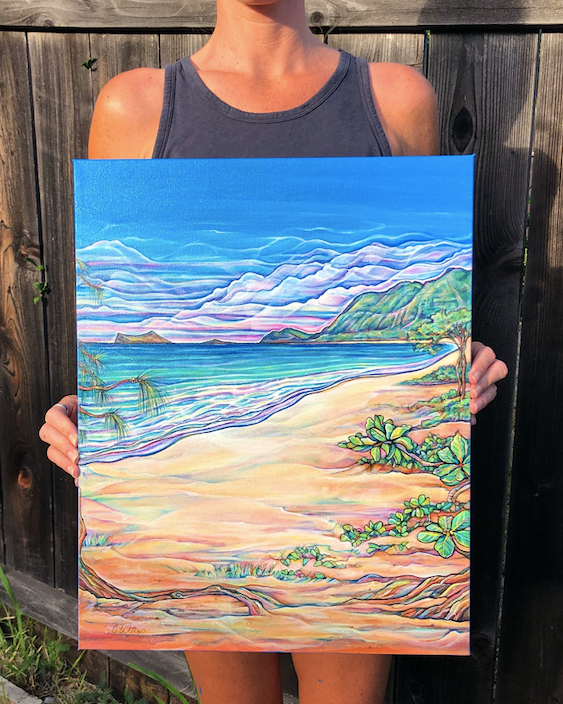 Waimanalo Beach Painting Process
