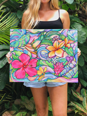 tropical floral painting