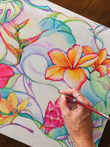 floral art painting process